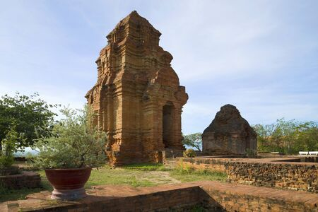 Ancient Cham towers on a sunny afternoon. Phan Thiet, Vietnam