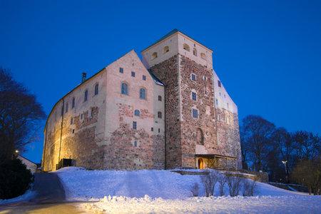 Abo castle in the February twilight. Turku, Finland