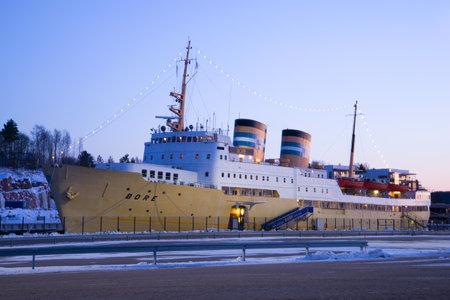 TURKU, FINLAND - FEBRUARY 23, 2018: Ship-hotel