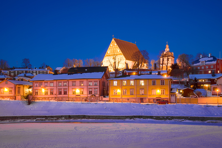 Old Porvoo in the evening of February. Finland