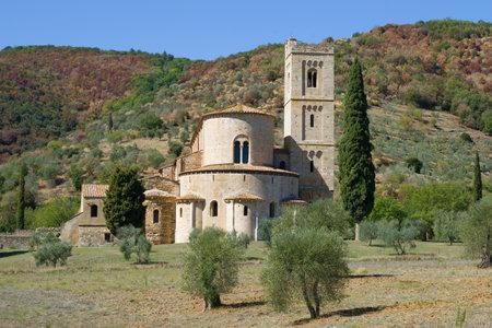 San Antimo abbeys close up in the sunny day. Tuscany, Italy