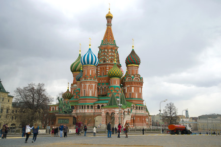 MOSCOW, RUSSIA - APRIL 15, 2015: Cathedral of the Intercession of the Blessed Virgin (St. Basil the Blessed) on a cloudy April day