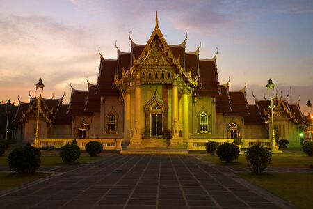 Evening twilight at the temple of Wat Benchamabophit (Marble Temple). Bangkok, Thailand