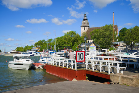 NAANTALI, FINLAND - AUGUST 27, 2016: Sunny summer day in the city harbor