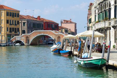 VENICE, ITALY - SEPTEMBER 27, 2017: A sunny day at the Ponte dei Tre Archi