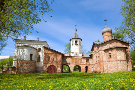 Old double Church ( Annunciation and of the Archangel Michael) on a Sunny may day. Veliky Novgorod, Russia