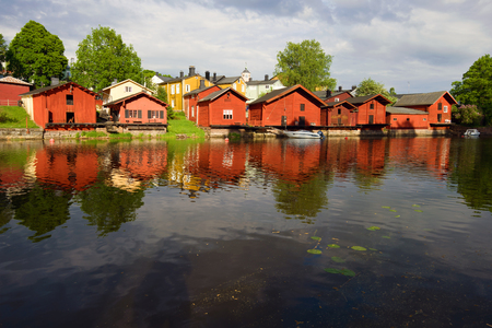 City old embankment on a June sunny evening. Porvoo, Finland