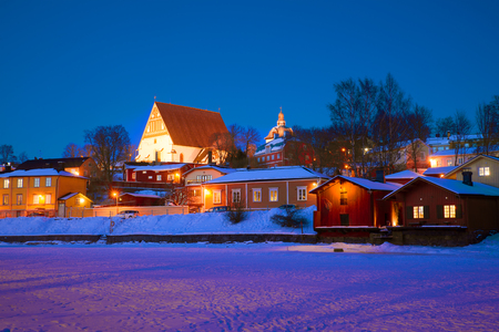 The landscape of the old Porvoo in the February twilight. Finland