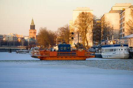 TURKU, FINLAND - FEBRUARY 23, 2018: Old ferry