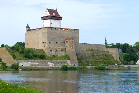 Herman Castle closeup on cloudy August day. Narva, Estonia Editorial