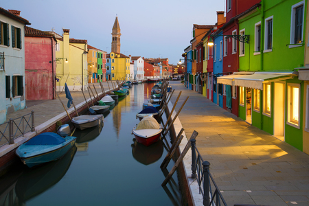 Twilight on the Burano island. Venice, Italy 写真素材
