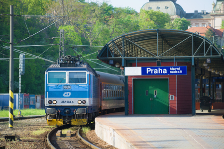 PRAGUE, CZECH REPUBLIC - APRIL 30, 2018: Passenger train at the platform of Prague's main train station