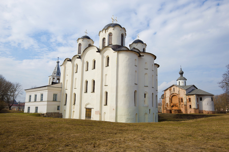 St. Nicholas Cathedral and Paraskev-Pyatnitsa church in the April afternoon. Veliky Novgorod, Russia