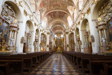 BRNO, CZECH REPUBLIC - APRIL 24, 2018: Interior of the Cathedral of St. John the Baptist. Monastery of Minorites Editorial