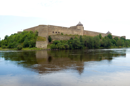 Panorama of Ivangorod fortress on cloudy August day. Leningrad region, Russia Editorial