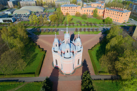View of the Chesme Church on a sunny April day. Shooting with quadrocopter. Saint-Petersburg, Russia