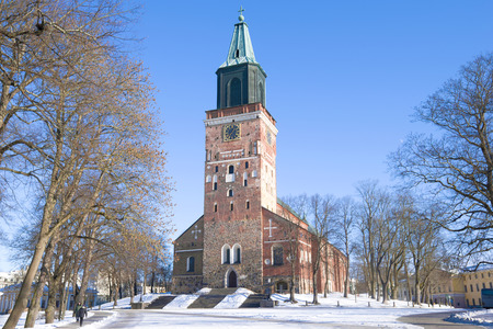 View of the medieval Lutheran Cathedral of the 13th century on a sunny day. Turku, Finland Stock Photo