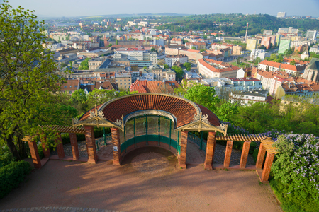 Gazebo with a viewing platform on the Spielberk hill on a sunny morning. Brno, Czech Republic Stock Photo