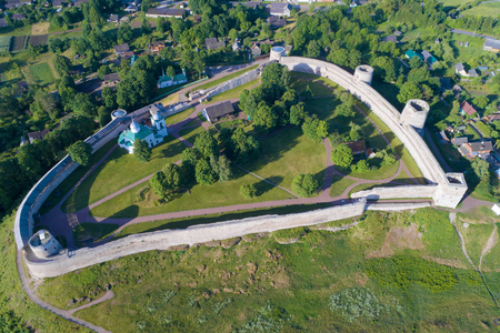 Izborsk fortress on a Sunny morning (aerial photography). Pskov region, Russia