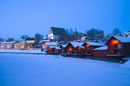 Evening landscape of the winter old Porvoo. Finland