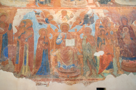 Depiction of Jesus Christ on the ancient fresco of the Znamensky Cathedral,