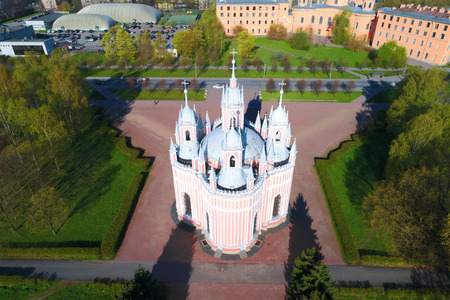 Chesme Church on a sunny May afternoon (aerial survey). Saint-Petersburg, Russia Stock Photo
