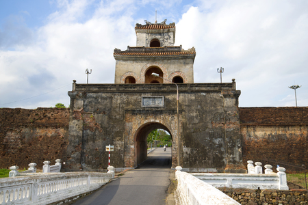 Ancient serf bastion with gate. Citadel cities of Hue, Vietnam