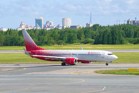 SAINT-PETERSBURG, RUSSIA - JUNE 20, 2018: The Boeing 737-8GJ (VQ-BUF) of Rossiya Airlines on the taxiway of Pulkovo Airport