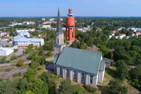 The Lutheran Church and the old water tower in the July day (aerial survey). Hanko, Finland