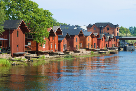 Sunny July day in the old town. Porvoo, Finland