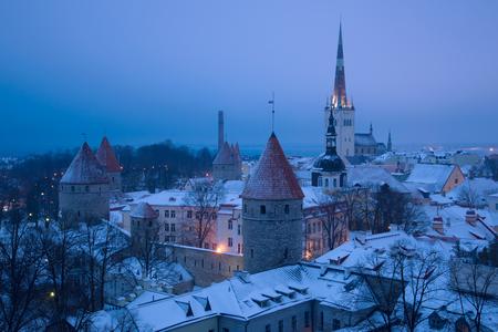 Old Tallinn in March twilight. Estonia