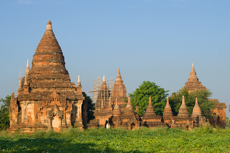 Ancient temples of Bagan on a sunny morning. Myanmar