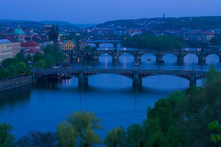 Prague bridges in April twilight. Prague, Czech Republic