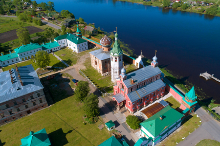 Temples of the Old Ladoga Nikolsky monastery in the sunny day (aerial photography). Old Ladoga, Russia