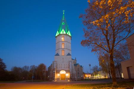 Church in memory of Emperor Alexander II, night illumination of a golden autumn. Narva, Estonia