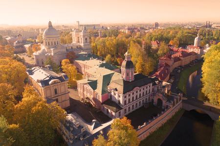 Alexander Nevsky Lavra (aerial survey). St. Petersburg, Russia Archivio Fotografico