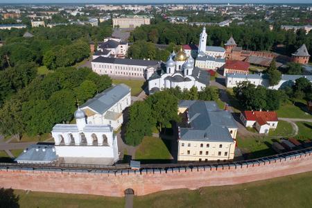 Saint Sophia Cathedral and Novgorod Kremlin (aerial photography). Veliky Novgorod Russia