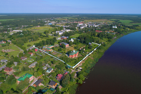 View from height on the Old Ladoga Sacred and Uspensky maiden monastery in the sunny July afternoon. Old Ladoga, Russia Stock Photo