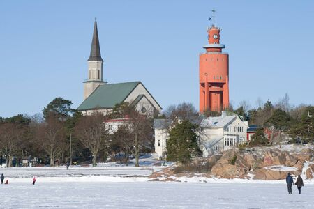 February noon on the ice of the Gulf of Finland. Hanko, Finland