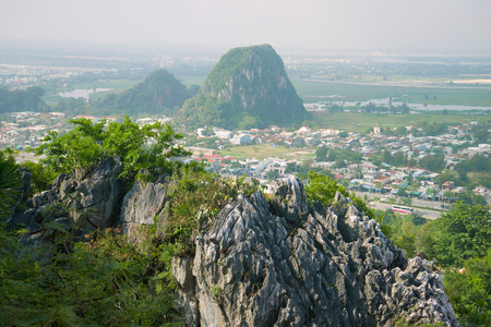 Foggy morning in the Marble Mountains. Surroundings of Da Nang, Vietnam