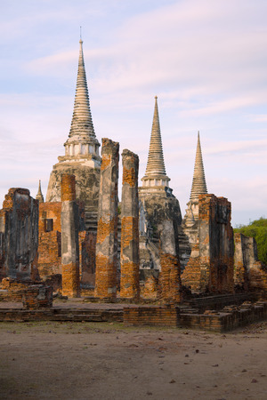 View of the ruins of the Buddhist temple of Wat Phra Sri Sanphet in the early morning. Ayutthaya, Thailand