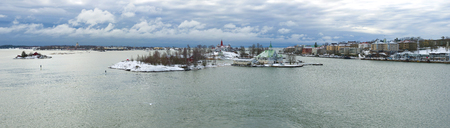 Panorama of the South Harbor on a cloudy March morning. Helsinki, Finland