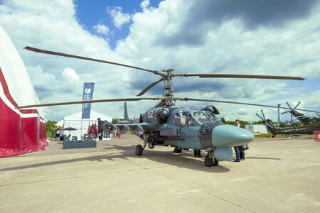 ZHUKOVSKY, RUSSIA - JULY 20, 2017: Russian reconnaissance and attack helicopter Ka-52 on the MAKS-2017 air show