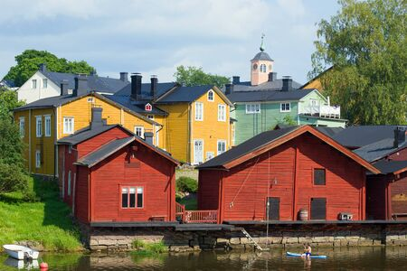 Sunny July day in the old Porvoo. Finland Editorial
