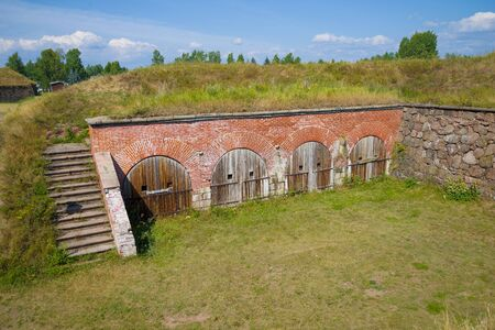 Fragment of the ancient bastions of the city of Hamina on a sunny August day. Finland Imagens