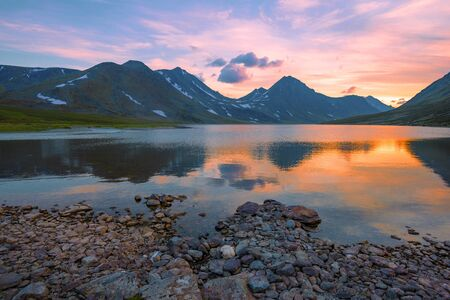 Sunset on the lake Khadatayoganlor. Polar Ural, Russia