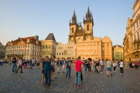 PRAGUE, CZECH REPUBLIC - APRIL 21, 2018: April sunny evening on Old Town Square.