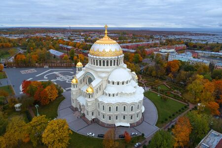 St. Nicholas Naval Cathedral close-up on a gloomy October day (aerial photography). Kronstadt, St. Petersburg