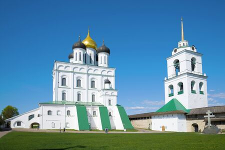 Trinity Cathedral close-up in the Pskov Kremlin on a sunny day. Pskov, Russia