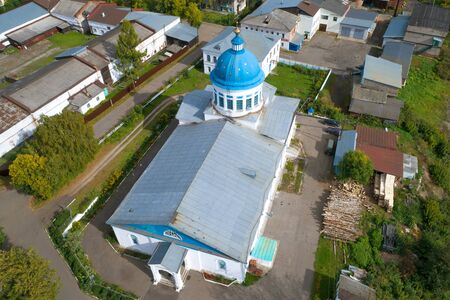 The top view on Nicholas The Wonderworker's church in the September afternoon (aerial photography). Kotelnich, Russia